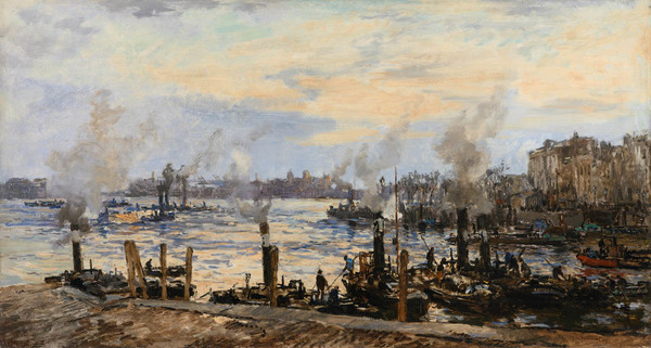 'Rotterdam, gezicht op de Leuvehaven' - olieverf op doek: Johan van Mastenbroek (herkomst: coll. Kunstahndel A.H. Bies)