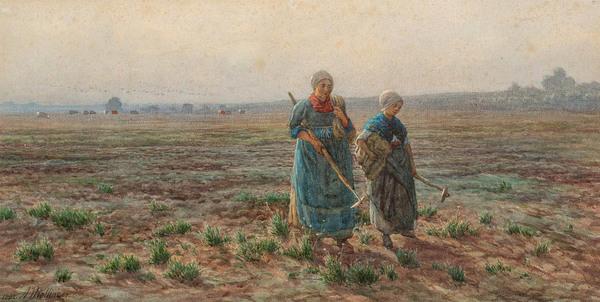 'Working the field' - aquarel: Alexander Mollinger (kavel 72 AAG Old masters to modernists veiling)