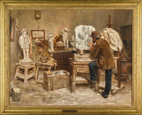 'The Sculptor Alphonse van Beurden in his Studio' - olieverf op op paneel: Evert Pieters