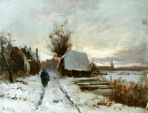 'Winterlandschap' - olieverf op doek: Hendrik Otto van Thol