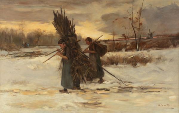 'Meisjes met sprokkelhout in winters landschap' - oliever op doek: Hendrik Otto van Thol