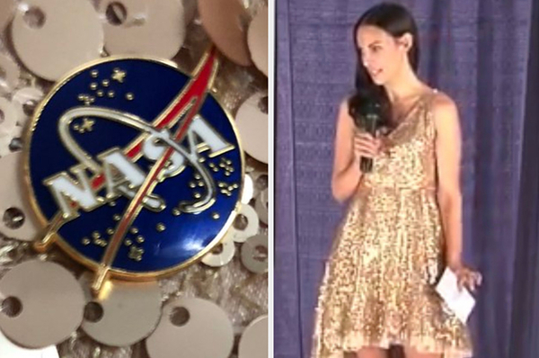 "A Woman Delivered A Speech To Students At NASA Wearing A Sequined Dress Because Girls Wanted To See A ""Sparkly"" Scientist"