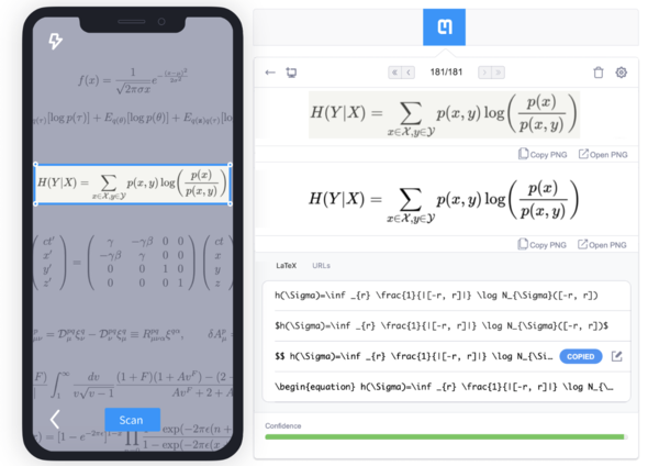 As input for its OCR pipeline, Mathpix can use either a camera photo (on mobile) or a screenshot (on desktop).
