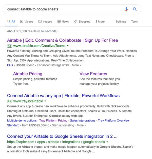Zapier is consistently first for connect X and Y searches