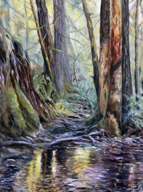 "SOLD! ""When I am Among the Trees"" 40 x 30 inch, oil on canvas by Terrill Welch"