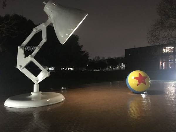 Giant Luxo, Jr. lamp outside