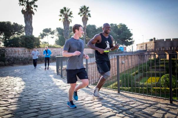 Mark Zuckerberg and Ime Archibong jogging in Barcelona