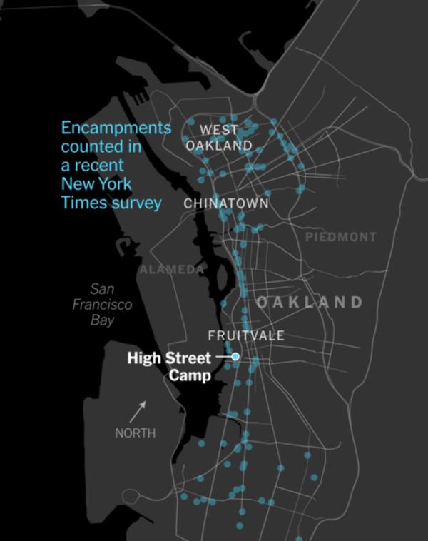 Encampments in Oakland, CA (San Francisco Bay Area) Source: NY Times