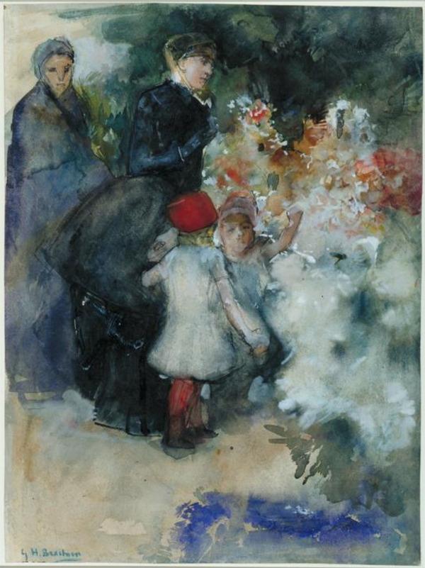 'Twee dames met kinderen op een bloemenmarkt' 1889 - aquarel: George Hendrik Breitner (herkomst: coll. Schenking M.J. Veder-van Hoboken 1929 Museum Boijmans Van Beuningen)