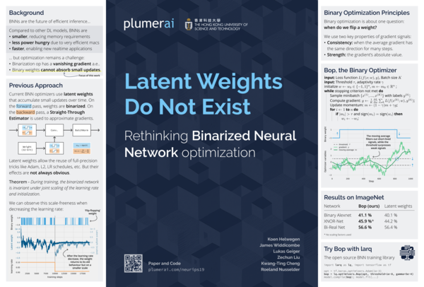 "Plumerai's poster for ""Latent Weights do not Exist: Rethinking Binarized Neural Network Optimization."" I did not write this paper, but I did work on the poster."