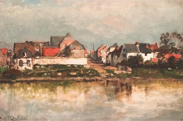'Eijsden aan de Maas' 1884 - olieverf op doek: Willem Roelofs (herkomst: coll. Limburgs Museum, Venlo)