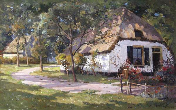 'Boerenerf' - olieverf op doek: Jan Harm Weijns (herkomst: voorm. coll. Kunsthandel Arnold)