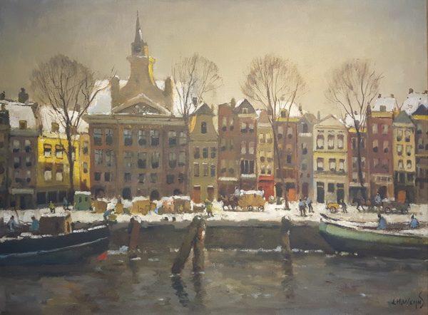 'Leuvehaven Rotterdam in de winter' - olieverf op doek: Jan Harm Weijns (herkomst: voorm. coll. Galerie Dick van Straten)