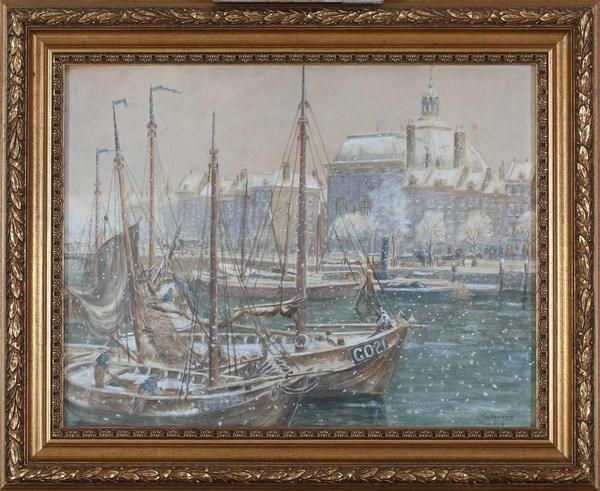 'Winter bij de Lutherse kerk' 1916 - aquarel: Eugène Rensburg (Venduhuis Rotterdam kavel 175)