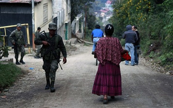 Soldiers patrolling the streets in Alta Verapaz north of Guatemala City Photo: AFP