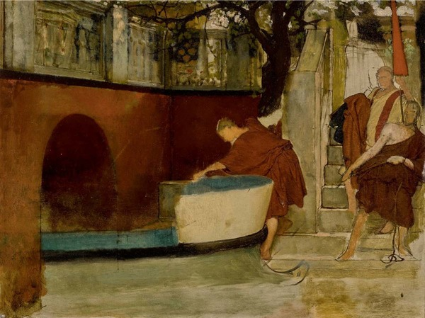 'The Embarkation on the barge' - olieverf op paneel: Lawrence Alma-Tadema