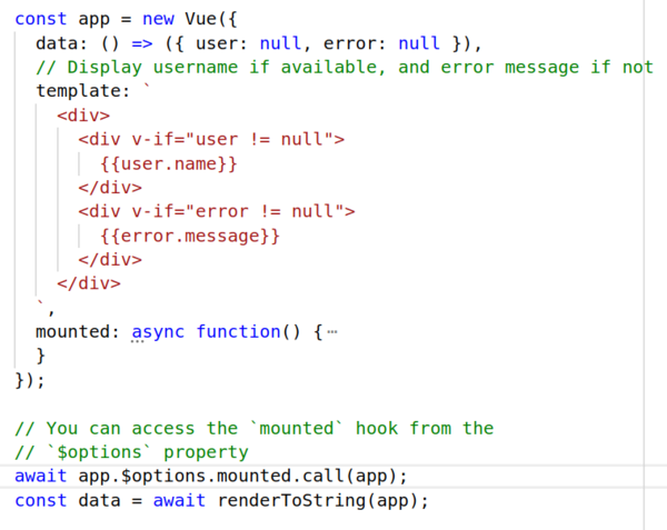 Call an async mounted hook manually for server-side rendering