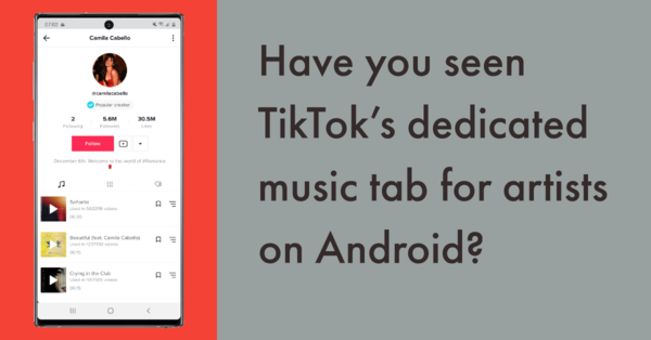 Have you seen TikTok's dedicated music tab for artists on Android?