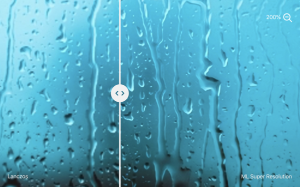 Traditional Lanczos image scaling (left) vs. Pixelmator's ML Super Resolution (right).
