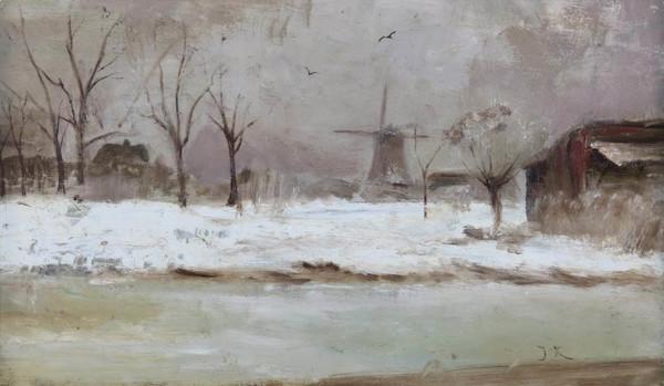 'Gezicht op oliemolen de Strijd in de winter' - olieverf op paneel: Jan Kruijver (Venduehuis De Eland)