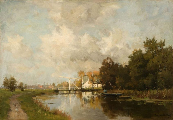 'Vissersbootje op de Vecht bij Loenen' - olieverf op doek: Frederik van Rossum du Chattel (herkomst: coll. Kunsthandel Mark Smit)