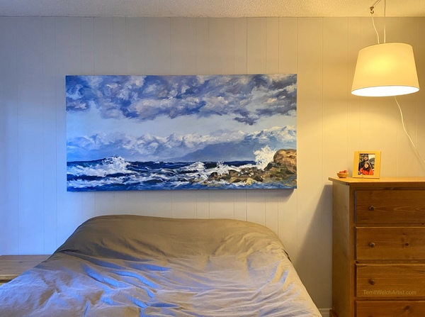 """West Coast Blues Rolling Waves Oyster Bay"" 36 x 72 inches by Terrill Welch"