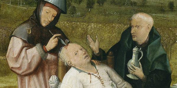 """Hoe je het internet niet moet repareren. Detail uit de """"De keisnijding"""" van Jeroen Bosch, rond 1494."""