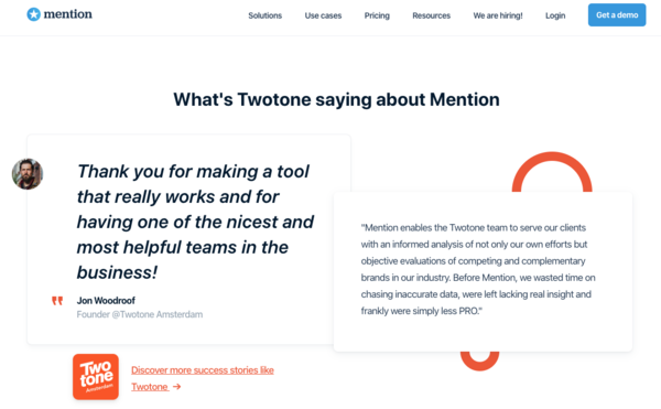 We use Mention to track when our clients are mentioned online