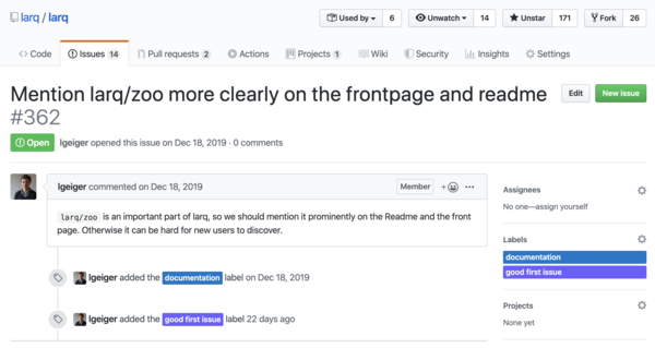 "Documentation fixes are a common example of ""good first issues,"" as indicated by the purple tag on this issue on the Larq repository. (Larq is the open-source BNN training library I work on at Plumerai.)"