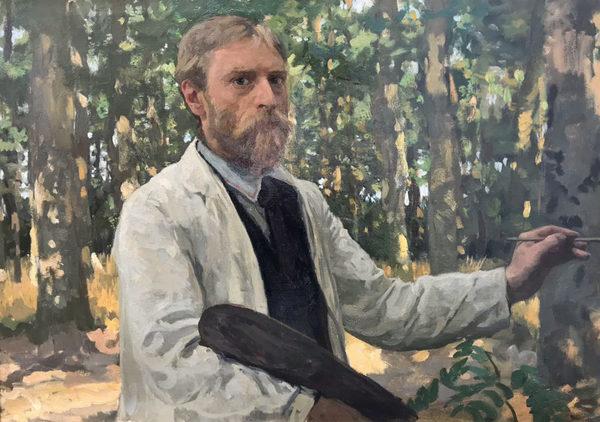 'Zelfportret in bosrijk landschap' 1895 - olieverf op doek: Willem Bastiaan Tholen (herkomst: coll. Dordrechts Museum, schenking Bedrijfsvrienden Dordrechts Museum, 2019)
