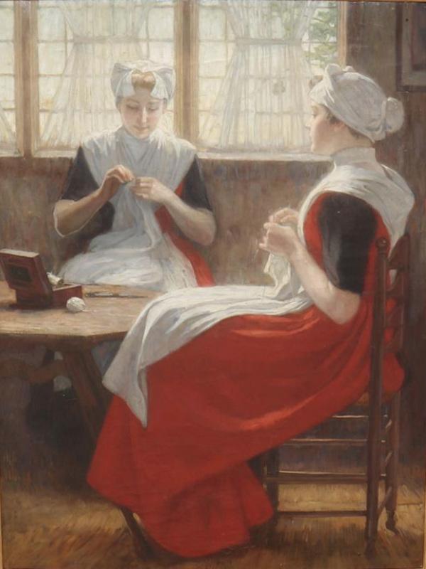 'Twee weesmeisjes aan het raam, de een breiende en de ander naaiende' - olieverf op doek (toegeschreven aan) Nicolaas van Waay (kavel 1169 Korst van der Hoeff)
