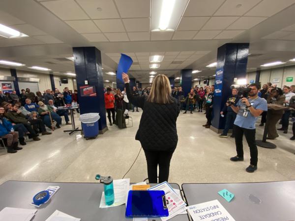 Caucus op de Roosevelt Highschool in Des Moines, Iowa (foto: Arjen van der Horst)