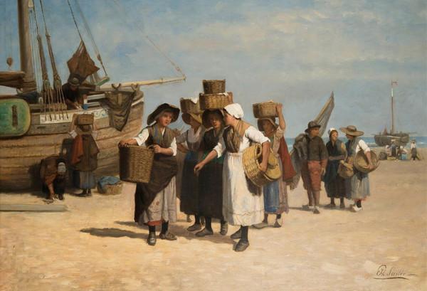 'Terugkeer van de visafslag' - olieverf op doek: Philip Sadée (lot 309 - Zeeuws Veilinghuis)