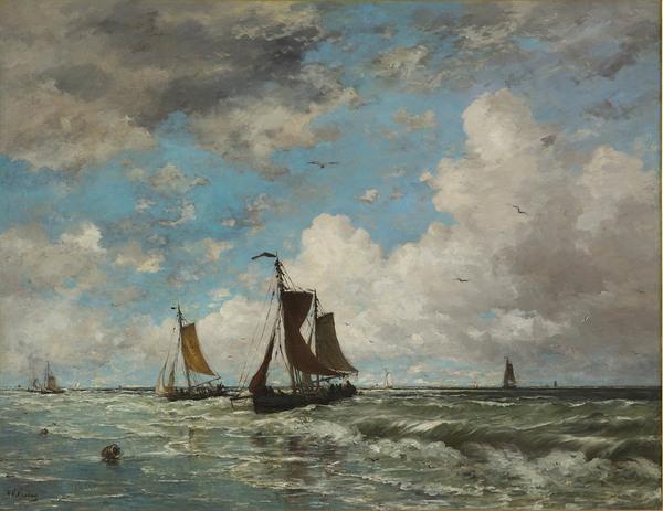 'Vissersschepen in de branding' - olieverf op doek: Hendrik Willem Mesdag