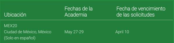 Fecha para la Academia de Innovación Google en México