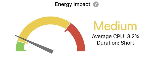 Safari's Dev Tool's Energy Impact Measure