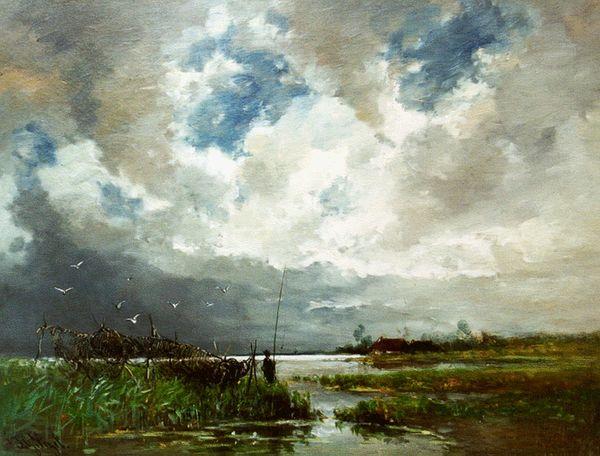 'Eldorado voor visschers' - olieverf op doek: Johannes Gijsbert Vogel (Herkomst: voormalig coll. Kunsthandel Simonis & Buunk)