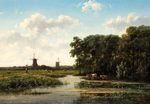'Landschap met molens en koeien' - olieverf op doek: Johannes Vogel
