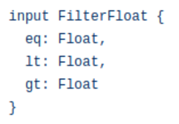 Input def for MongoDB query filters on floats. Need a separate one for other types!