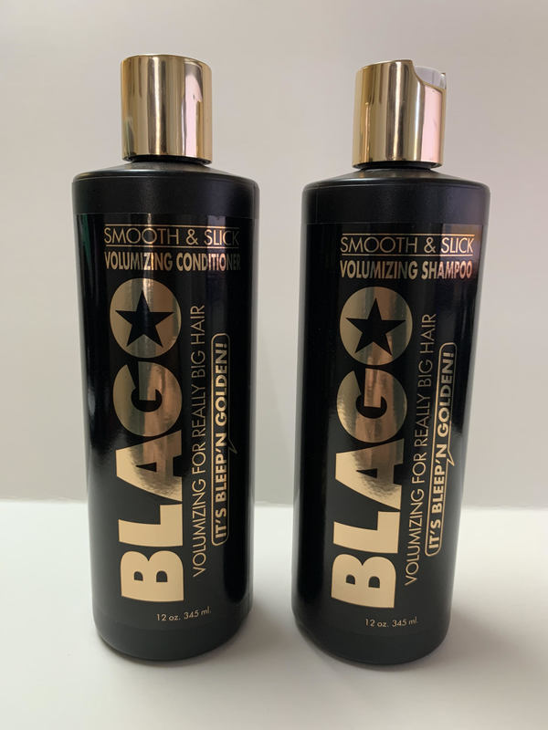 """Blago shampoo and conditioner are stamped with the slogan """"It's Bleep'n Golden!"""" 