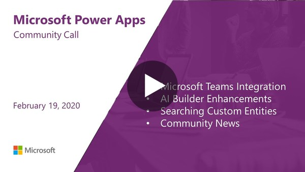 Microsoft Power Apps community call - February 2020