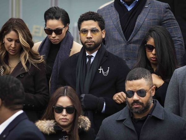 Jussie Smollett leaving the Leighton Criminal Courthouse after Monday's hearing. | Ashlee Rezin Garcia/Sun-Times