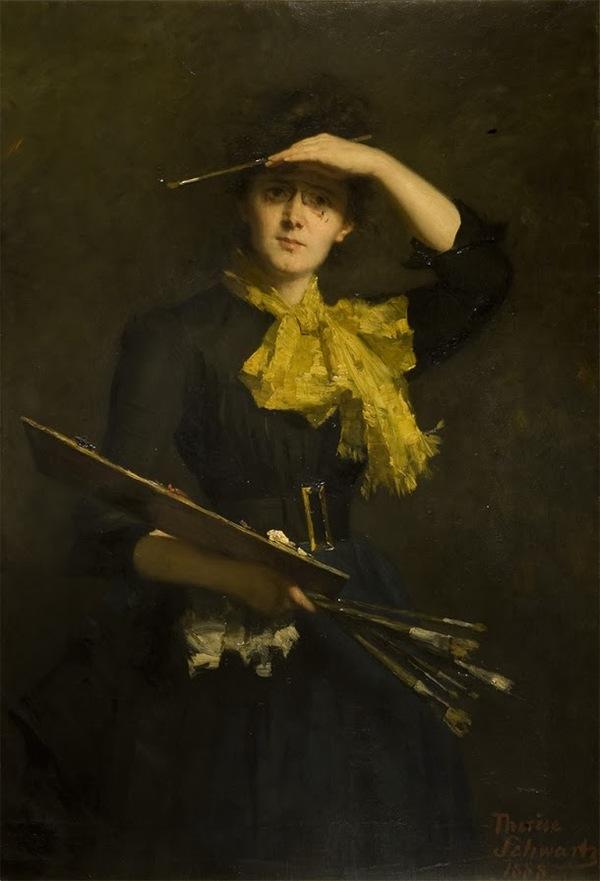 'Zelfportret met palet' 1888 olieverf op doek: Thérèse Schwartze (Herkomst: Gallerie degli Uffizi, Florence)