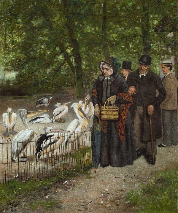 'Bezoek aan het Pelikanenverblijf in Artis, Amsterdam' - olieverf op doek: Jan van Essen (herkomst: coll. Arnold Ligthart)