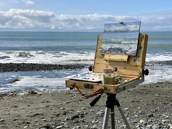 Terrill Welch plein air painting on China Beach