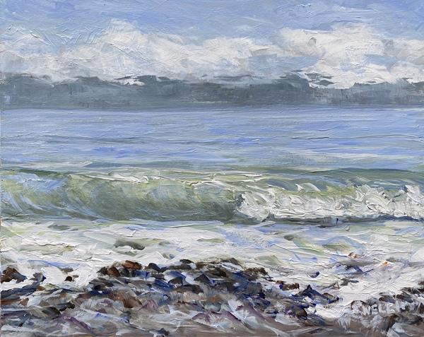 China Beach 8 x 10 inch acrylic on gessobord plein air by Terrill Welch