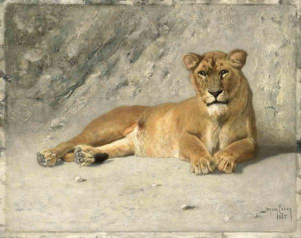 'Rustende leeuwin' 1885 - olieverf op paneel: Jan van Essen (herkomst: coll. Rijksmuseum Amsterdam)