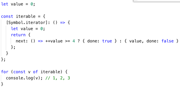 Custom iterable works with for/of loops!