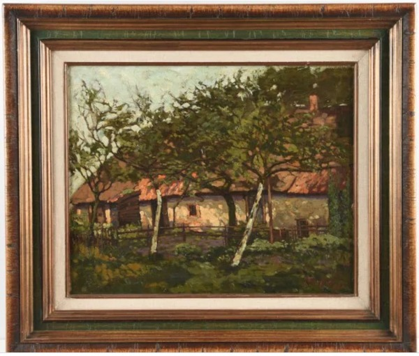 'Boerderij in landschap' 1920 - olieverf op doek: Jan Kruijsen (kavel 46117-661 Notarishuis Arnhem)