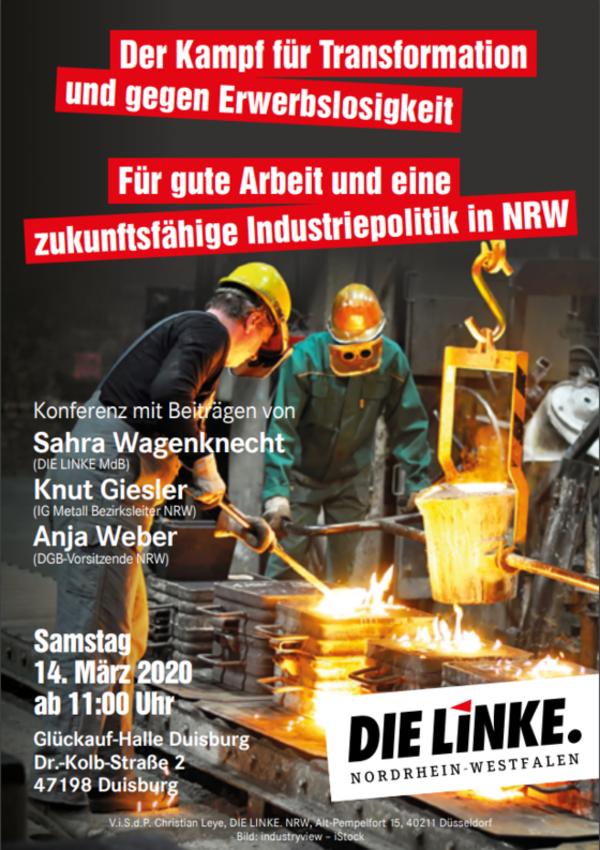Konferenz: Der Kampf für Transformation und gegen Erwerbslosigkeit – Für gute Arbeit und eine zukunftsfähige Industriepolitik in NRW